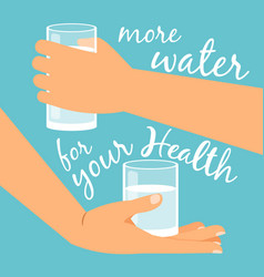 glasses with water in hands vector image