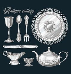 hand drawn antique silver cutlery set vector image