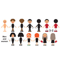 men and women front and back vector image