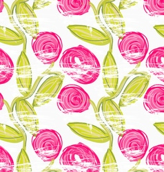 Rough brush pink rose flowers in green vine vector image vector image