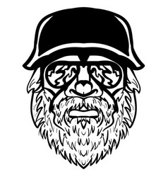 severe looking man with mustache and beard vector image vector image