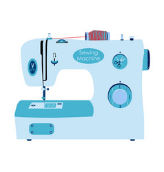 sewing machine in flat style needlework sewing set vector image