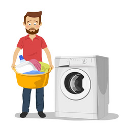 unhappy young man standing next to washing machine vector image vector image