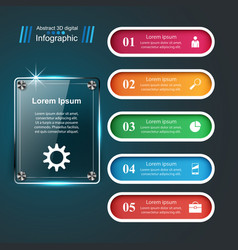 3d infographic design template and glass marketing vector