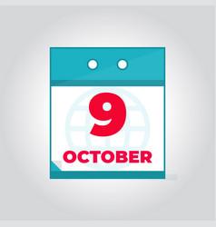 9 october flat daily calendar icon vector image