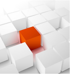 Abstract 3D cubic background with red cube vector