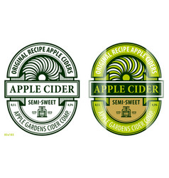 apple cider label template vector image