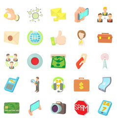 Application development icons set cartoon style vector