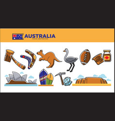 Australia travel destination poster with national vector