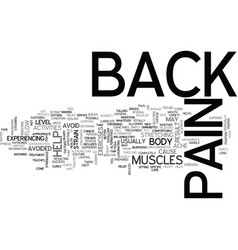 backpain text word cloud concept vector image