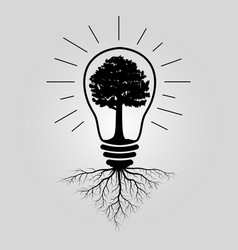 big tree in lightbulb vector image