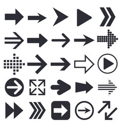 black arrows collection of web icons vector image