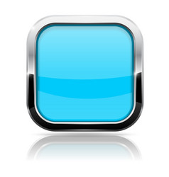 Blue glass button square shiny 3d icon with metal vector