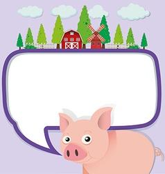 Border design with pig on the farm vector