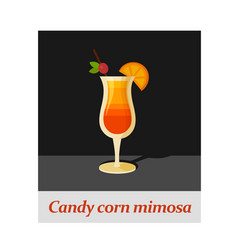 Candy corn mimosa cocktail menu item or any kind vector