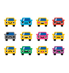 car emoticon smiles icons set vector image