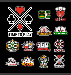casino poker logo templates set vector image