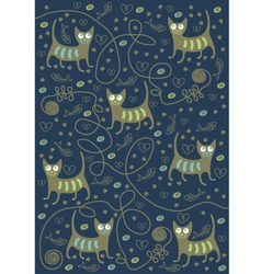 cats on a blue background vector image