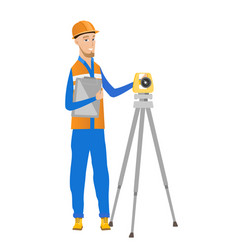 caucasian surveyor builder working with theodolite vector image