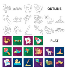 Children toy flat icons in set collection vector