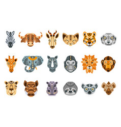 collection of african animals made in modern flat vector image