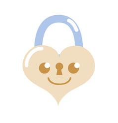 Colorful smile heart padlock kawaii personage vector