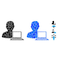 Computer programmer mosaic icon circle dots vector
