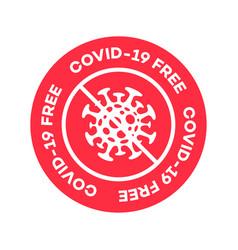 Covid19 19 free zone label vector