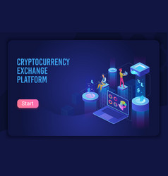 cryptocurrency exchange platform dark neon light vector image