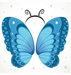 Cute blue butterfly wings and hoop with antennae vector