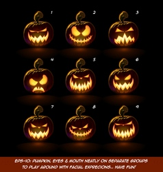 Dark jack o lantern cartoon 9 scary expressions vector