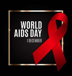 December 1 world aids day background red ribbon vector