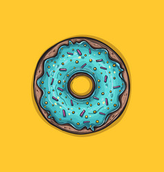 donut with mint glaze donut icon vector image