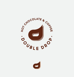 double d letter coffee chocolate cafe emblem vector image
