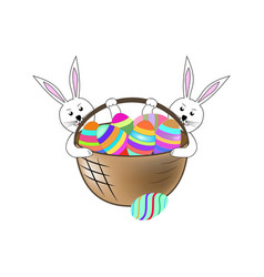 easter bunny and eggs holyday background design vector image