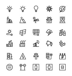 Energy line icons 3 vector