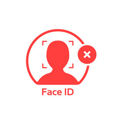 Face id cancel red logo isolated on white vector