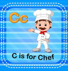 flashcard letter c is for chef vector image