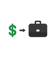 flat design style concept of dollar with arrow vector image