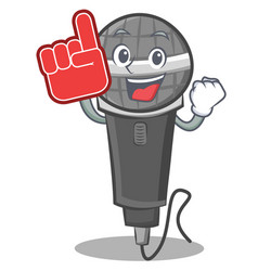 Foam finger microphone cartoon character design vector
