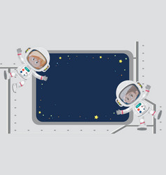 Frame template design with astronauts looking vector