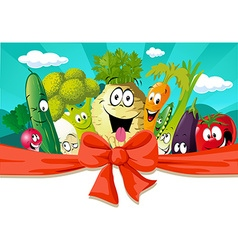 funny design with vegetable - horizontal banner vector image