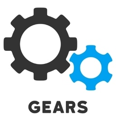 Gears Flat Icon with Caption vector