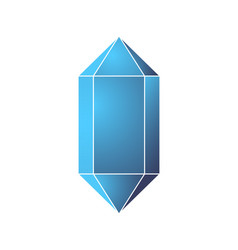 Glossy unusual blue crystal with white contour vector
