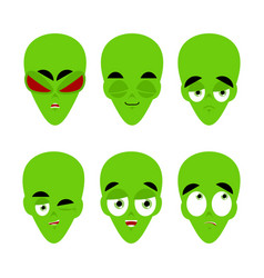 green alien emoji emotion set aggressive and good vector image