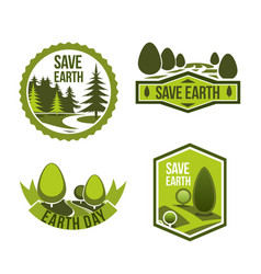 Green nature icons set for earth day vector
