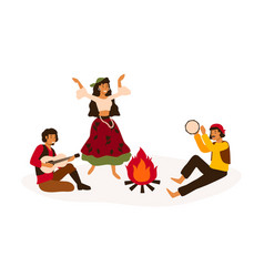 Gypsy traditional entertainment flat vector