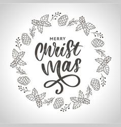 hand drawn ink christmas wreath with bump fir vector image