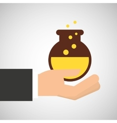 Hand holding research science container vector