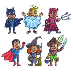 Happy halloween Set of cartoon cute children in vector